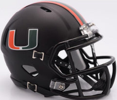 "Miami Hurricanes ""Miami Nights"" Black Speed Mini Helmet"