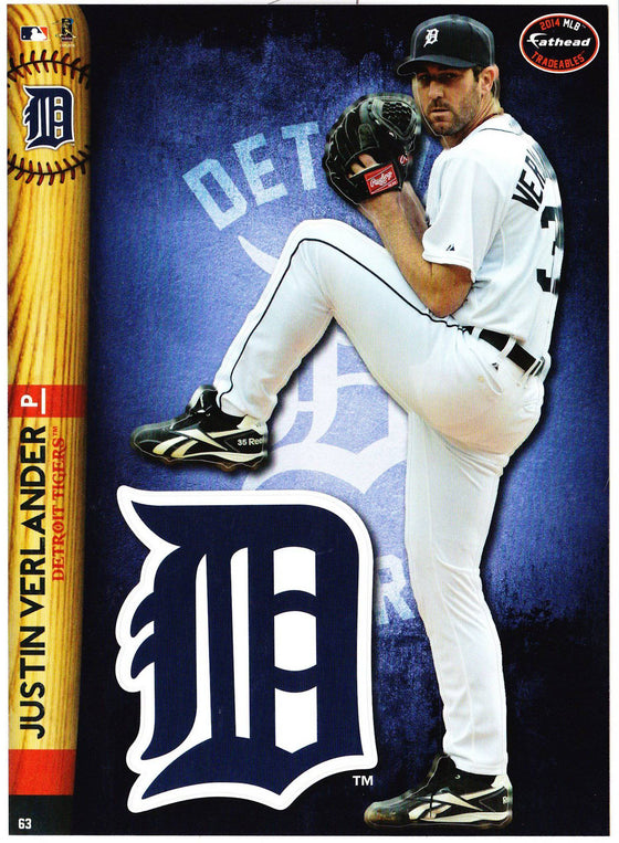 MLB Detroit Tigers Justin Verlander Fathead Tradeable Decal Sticker 5x7