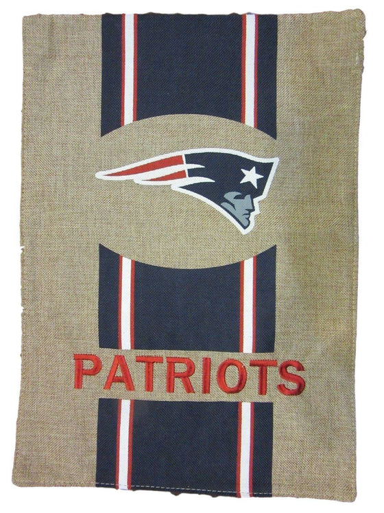 "NFL New England Patriots Burlap Garden Flag 12.5"" x 18"" - 757 Sports Collectibles"