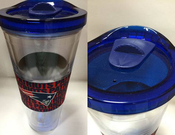 NFL New England Patriots 22 oz Slider Tumbler Wrap with Lid