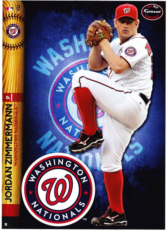 MLB Washington Nationals Jordan Zimmerman Fathead Tradeable Decal Sticker 5x7 - 757 Sports Collectibles