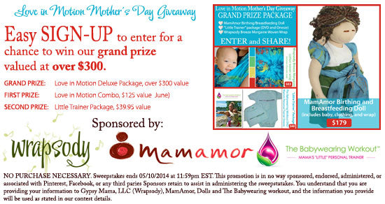 Babywearing MamAmor Liz Love in Motion Giveaway