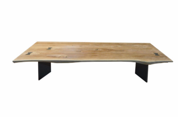 Live Edge Coffee Table with Sheet Aluminum Dovetail Supports