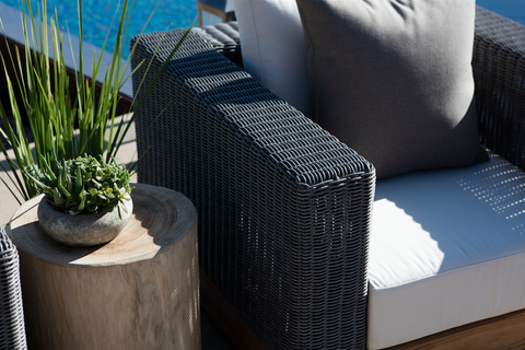 Shown with Natural Teak Base and Grey Weave with Sunbrella Birdseye Fabric