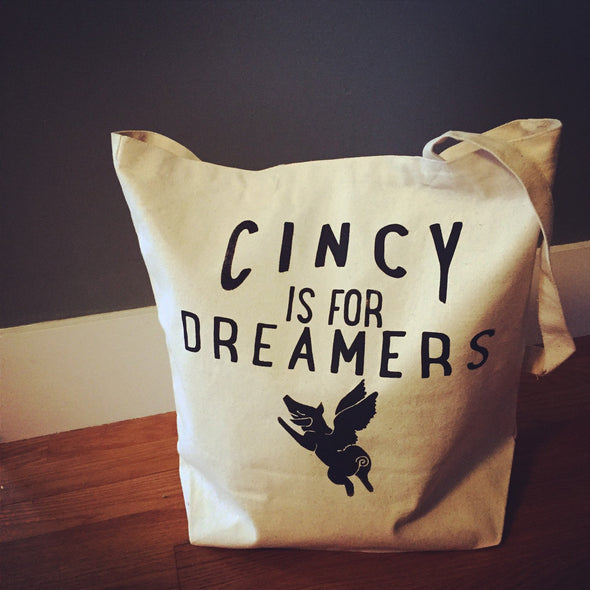 Cincy Is For Dreamers Canvas Tote (Flying Pig Edition)
