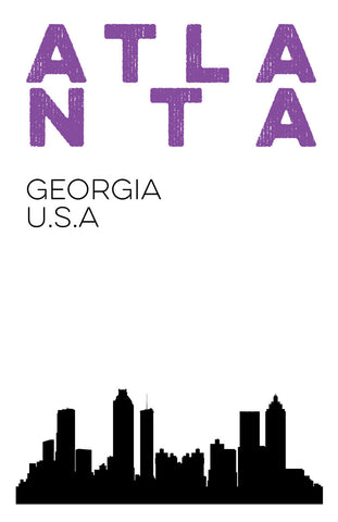 Atlanta, Georgia Skyline Digital Print 11x17 Poster