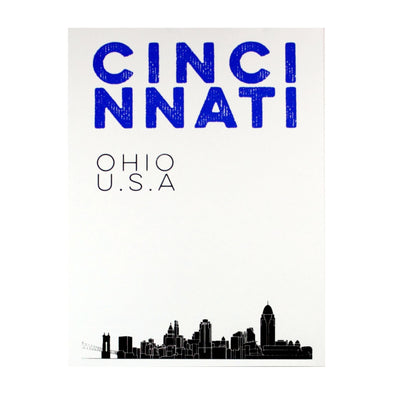 The Rivertown Inkery Hand-pulled Screen Print Cincinnati Skyline Poster (Screen Print)