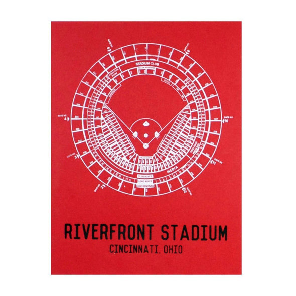 The Rivertown Inkery Hand-pulled Screen Print Riverfront Stadium Seating Chart Print