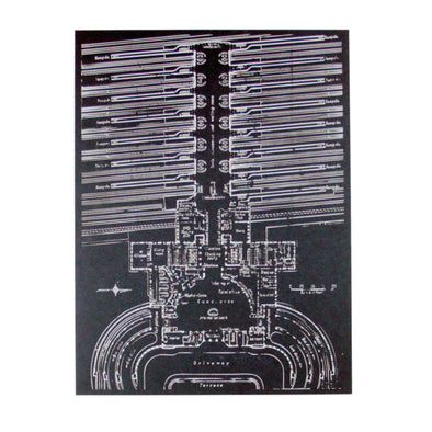 The Rivertown Inkery Hand-pulled Screen Print Union Terminal Blueprint Screen Print