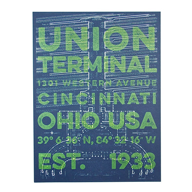 The Rivertown Inkery Hand-pulled Screen Print Union Terminal Blueprint with Green Text Overlay