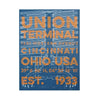 The Rivertown Inkery Hand-pulled Screen Print Union Terminal Blueprint with Orange Text Overlay