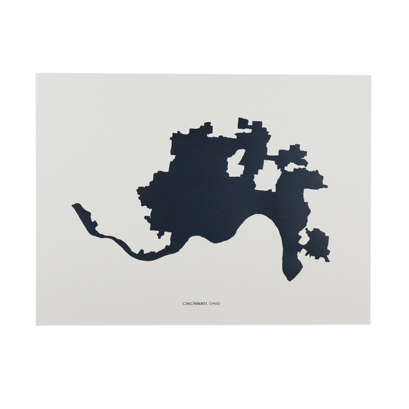 The Rivertown Inkery LLC Hand-pulled Screen Print Cincinnati Inkblot Map Print