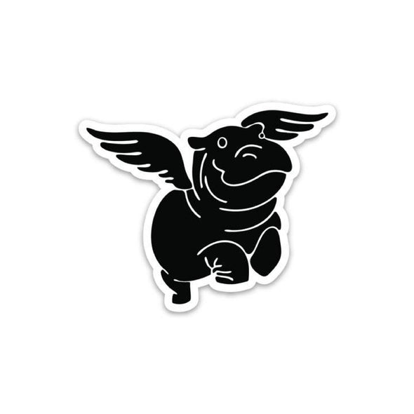 The Rivertown Inkery Sticker Flying Hippo Sticker