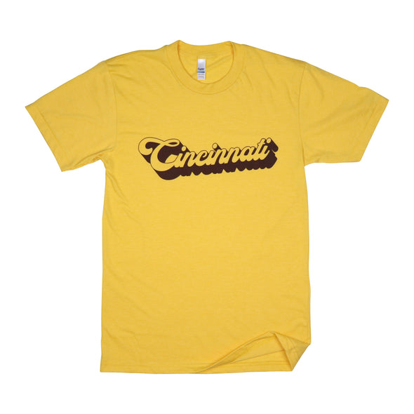 The Rivertown Inkery T-Shirt Extra Small / Gold Cincinnati Retro 3D Tee