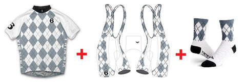 Twin Six Argyle White conjunto Maillot + Culote + Calcetines