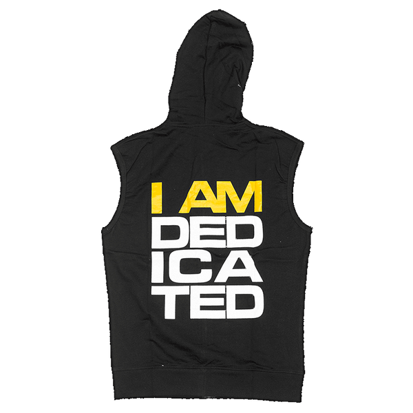 Sleeveless Hoodie with I Am Dedicated print on back side
