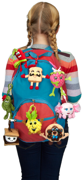 Whiffer Sniffers Backpack Clips attached to a backpack