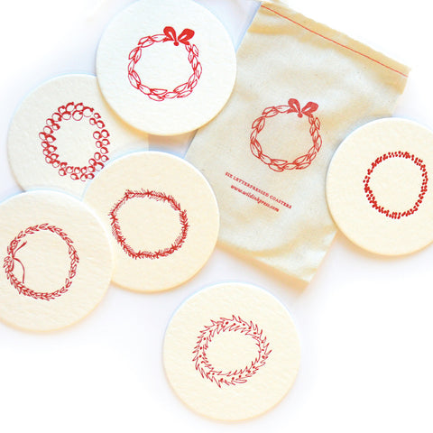 Merry Wreaths Coasters