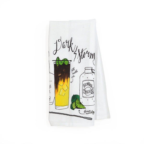 Dark & Stormy Classic Cocktail Tea Towel