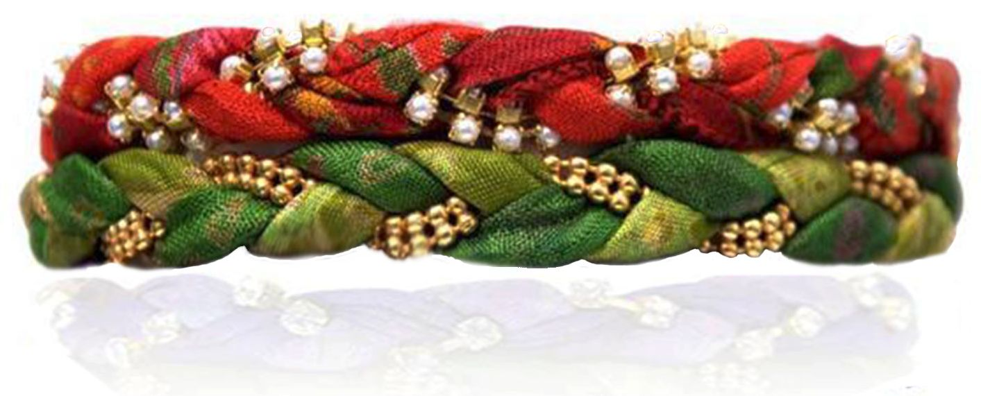 Evergreen & Spice Vintage Sari Two Bracelet Stack