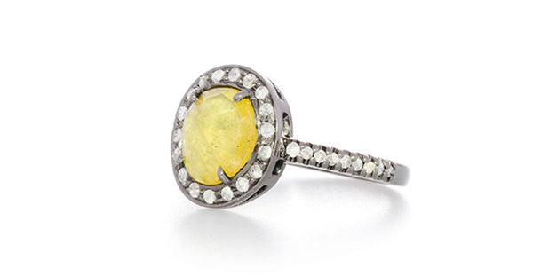 Yellow Sapphire Double Chai Talisman Ring