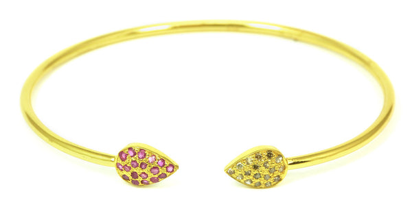 Diamond & Red Ruby Double Chai Bangle