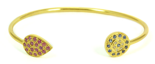 Multi Diamond, Sapphire & Ruby Double Chai Bangle