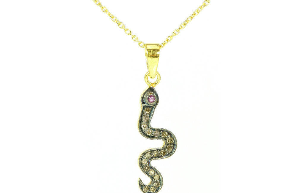 Diamond Snake Chai Talisman Necklace