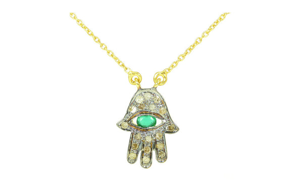 Diamond Hamsa Chai Talisman Necklace