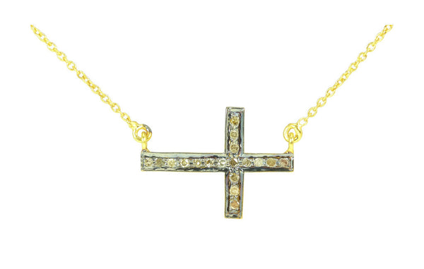 Diamond Cross Chai Talisman Necklace