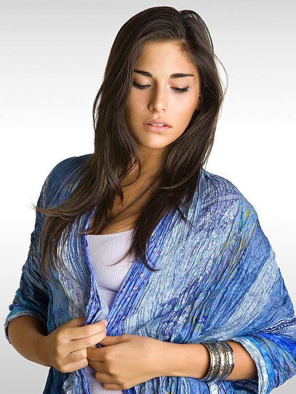 Baby Blues Multi Vintage Silk Sari Wrap