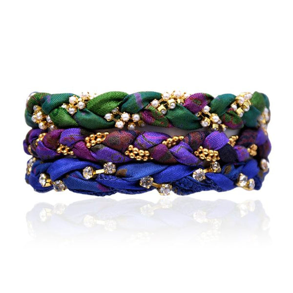 Wild Berry Mix Vintage Sari Three Bracelet Stack