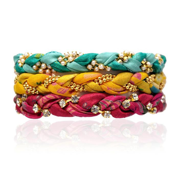Tahitian Breeze Vintage Sari Three Bracelet Stack