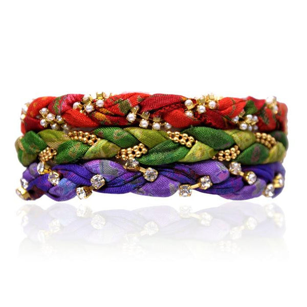 SAMPLE SALE- 3 Sets Vintage Sari Three Bracelet Stack- 9 Bracelets Total