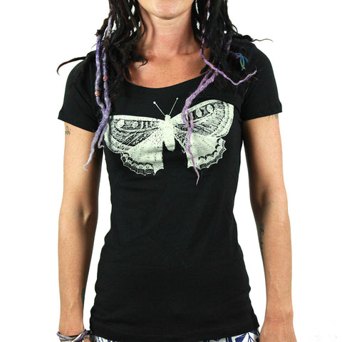 Annex Women's Butterfly Scoop Neck T -shirt | Great Quality Scoop Neck Tee with Silkscreen Butterfly Print