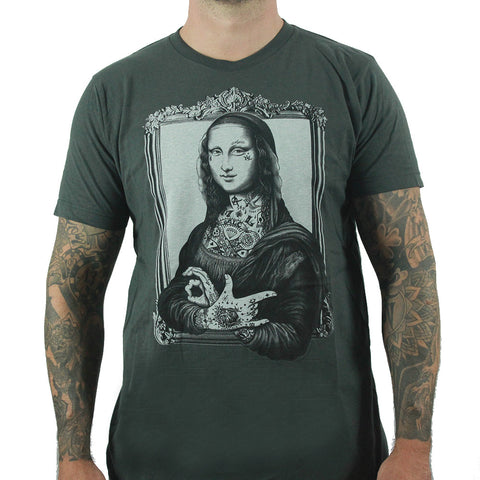 Black Market Art Men's Mona T -shirt | Fit Cut Quality Tee with an Awesome Mona covered in Tattoo's