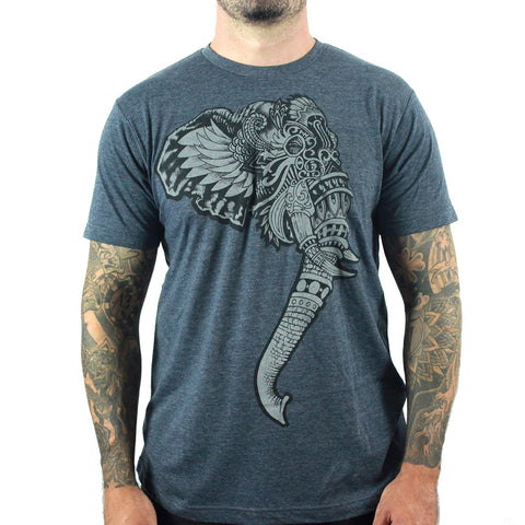 Lowbrow Men's India T -shirt | Quality Men's Tee Featuring and Intricate Elephant Print