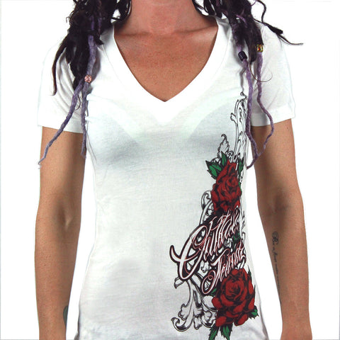 Outlaw Threads Women's Floral V-neck T -shirt | Great Quality Ladies V-neck Featuring a Tattoo Style Floral Print