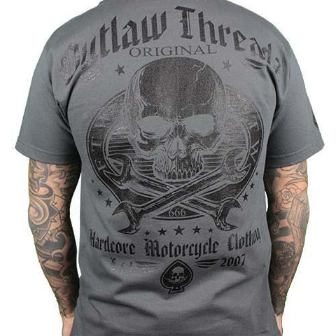 Outlaw Threadz Men's Original Outlaw Charcoal T -shirt