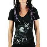 Outlaw Threadz Women's RIP V-neck T -shirt | Quality Ladies V-neck Tee with a Skull Rose and Swallow Design on the Front