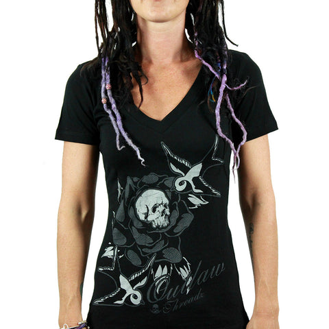 Outlaw Threadz Women's RIP V-neck T -shirt - Musink