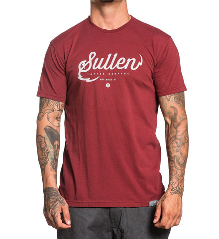 Sullen Men's Tattoo Company Burgundy T-shirt