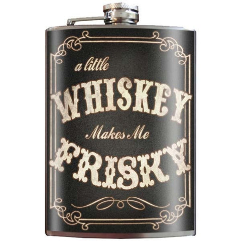 Trixie & Milo Whiskey makes me Frisky Stainless Steel Flask - Musink