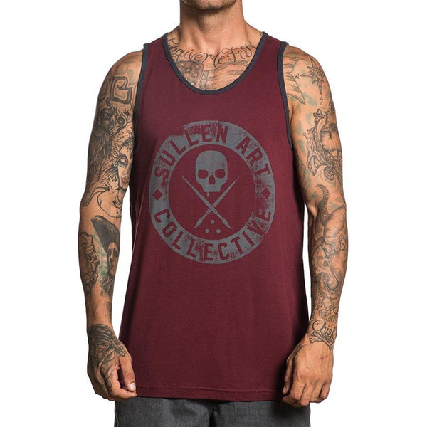 Sullen Men's BADGE OF HONOR TANK – BURGUNDY - Musink