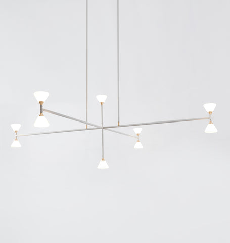 Chandelier - Vertical - 10 Lights (Matte ivory/Brushed brass)