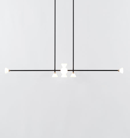 Chandelier - Horizontal - 10 Lights (Matte black/Brushed brass)