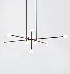 Chandelier - 12 Lights (Matte black/Brushed brass)