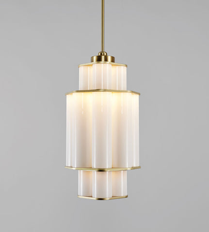 Chandelier - 01 (Brushed Brass/White)