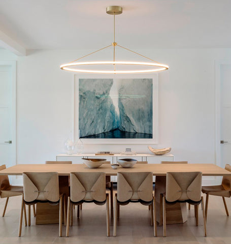 Oval Pendant - Custom size (Brushed brass) — Watermill, New York. Interior by David Howell Design. Image by Guillaume Gaudet