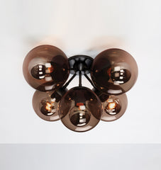 Ceiling Mount - 5 Globes (Black/Smoke)